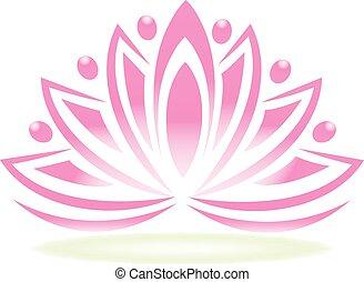 logo, lotos, gemeinschaftsarbeit, leute, blume