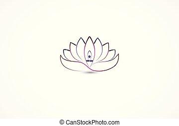 Logo lotus flower yoga man inside of leafs line art