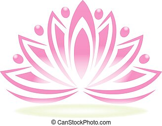 Logo lotus teamwork people flower