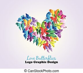 Logo love heart butterflies