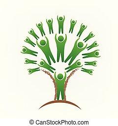 logo, ludzie, drzewo, ikona