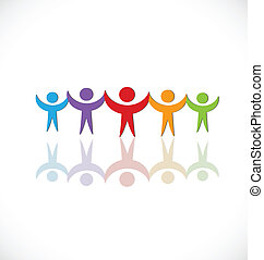 logo, ludzie, grupa, teamwork