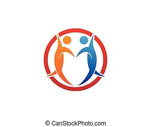 logo, ludzie, projektować, szablon, troska