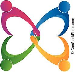 logo, ludzie, przyjaźń, teamwork