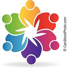 logo, ludzie, teamwork, dzierżawa wręcza