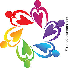 logo, ludzie, teamwork, serca