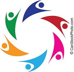 logo, ludzie, teamwork, szczęśliwy, 6