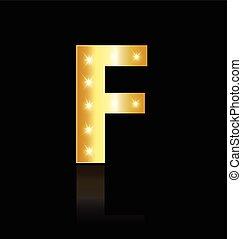 logo, lumières, incandescent, lettre f