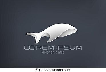 Logo luxury jewelry metal Fish abstract vector design