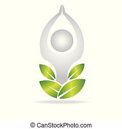 logo, méditation, homme yoga
