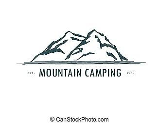 logo, main, dessiné, montagne