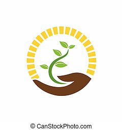 logo, main, plante, tenue