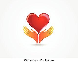 logo, mains, aimez coeur, vecteur