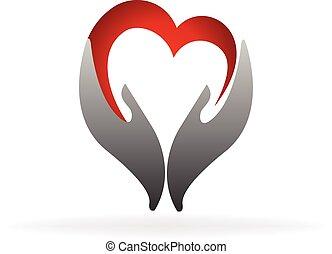 logo, mains, coeur, charité