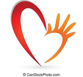 logo, mains, coeur