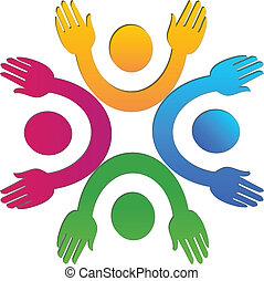 logo, mains, collaboration, haut, gens