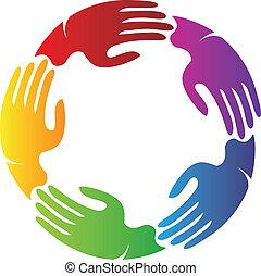 logo, mains, connecté, équipe