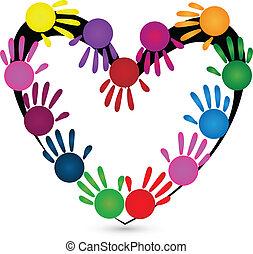 logo, mains, enfants, autour de, coeur