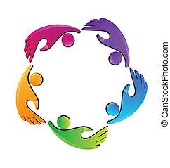 logo, mains, figures, equipe affaires