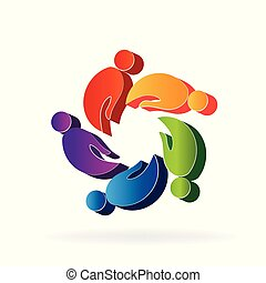 logo, mains, gens, collaboration, 3d