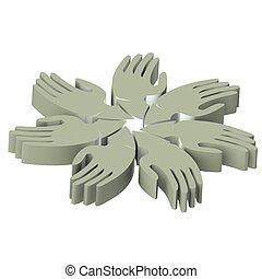 logo, mains, gris, 3d