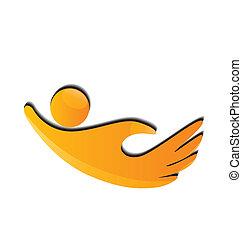 logo, mains, icône, figures, charité