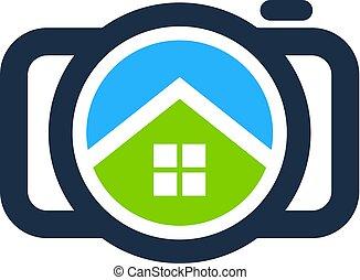 logo, maison, appareil photo, conception, icône