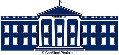 logo, maison blanche, bâtiment