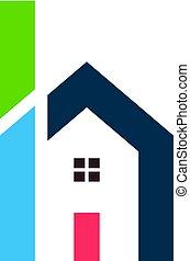 logo, maison, conception, h