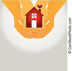 logo, maison, couple, vecteur, mains