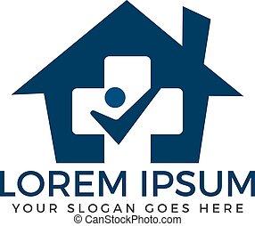 logo, maison, monde médical, design.