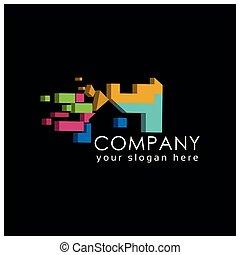 logo, maison, noir, coloré, arrière-plan.