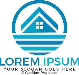logo, maison, plage, design.