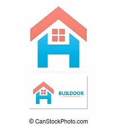 logo, maison, vecteur, lettre h