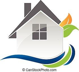logo, maison, vecteur, pousse feuilles, vagues