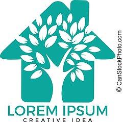 logo, maison, vert, design.