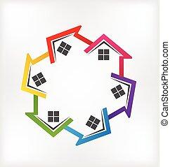 logo, maisons