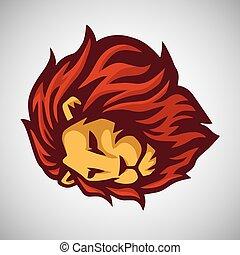logo, mal, leeuw, vector, mascotte