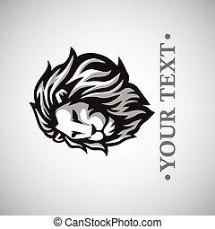 logo, mal, vector, leeuw