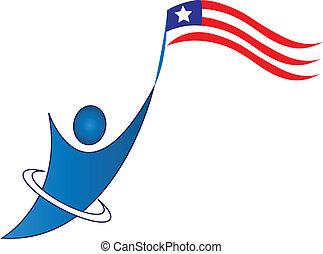 logo, mand, glade, patriotiske