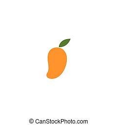logo, mango, ontwerp, plat