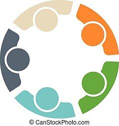 logo, mannschaft, fünf leute