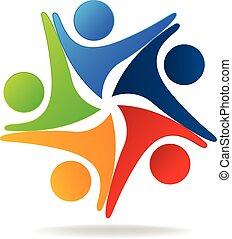 logo, mannschaft, halten hände