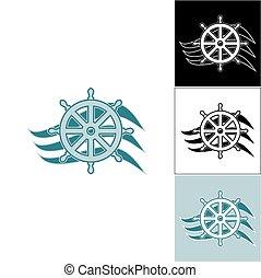 Logo marine helm on the wave