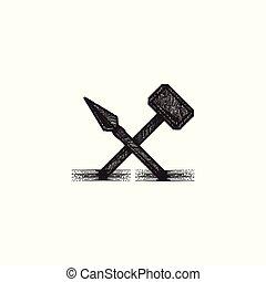 logo, marteau, conception