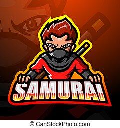 logo, mascotte, esport, samouraï, conception