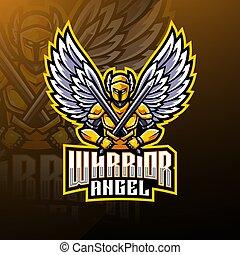 logo, mascotte, guerrier, ange, conception
