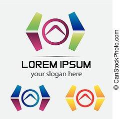 logo, media, technologia, abstrakcyjny