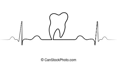 logo medical dental clinic with a single line, vector pulse, and the tooth of the dental office icon healthy tooth molar teeth and heartbeat