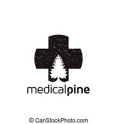 logo, medicinsk, vektor, fyrre, ikon